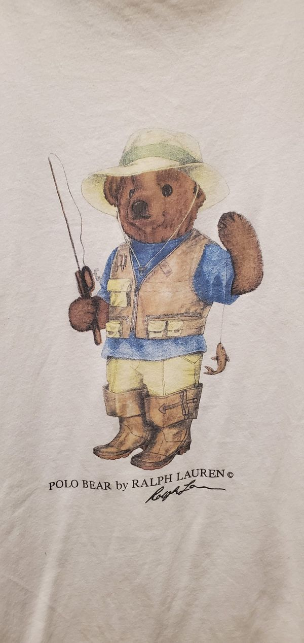 Vintage Ralph Lauren Fly Fishing Polo Bear with Long Blue Tag