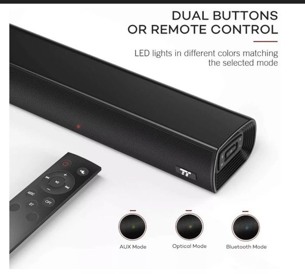 """TaoTronics 25"""" Sound Bar Wired and Wireless Bluetooth Audio Speakers(open Box)"""