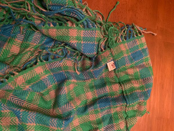 SO infinity scarf with fringe (blue, green, khaki)