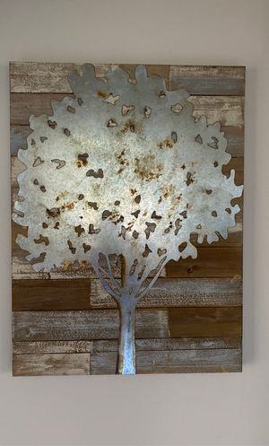 Wall art-Reclaimed wood with metal tree -31 1/2 by 23 1/2' for Sale in El Cajon, CA