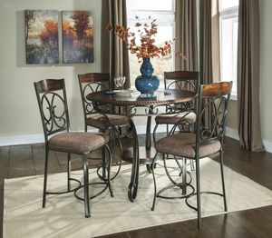 Glambrey Brown 5-Piece Round Counter Height Set | D329 for Sale in Houston, TX