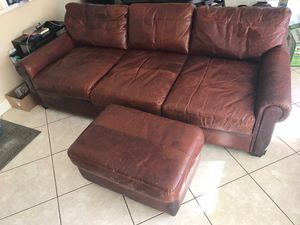 Leather sofa + ottoman+ professional refinish! for Sale in Seminole, FL