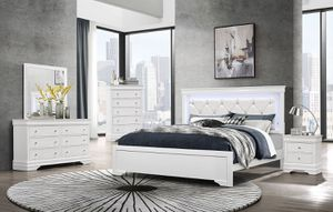 White or black contemporary bedroom set with LED LIGHTS 🔥FINANCING AVAILABLE for Sale in Fort Lauderdale, FL