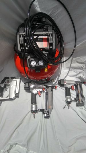 Porter cable air compressor, nail gun, heavy duty stapler set. for Sale in Atlanta, GA