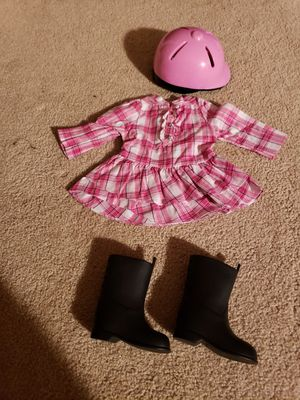American girl horse back riding outfit~including helmet, dress, and boots for Sale in Weston, WI