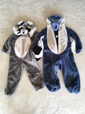Raccoon & Dolphin Halloween costumes, child size for Sale in Wenatchee, WA