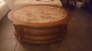 Wooden coffee table with 12 legs, for sofa that is for Sale in LAKE CLARKE, FL