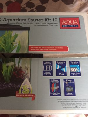 10 gallons aquarium with led hood and filter with catridges for Sale in Philadelphia, PA