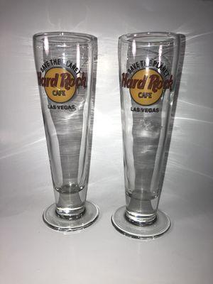 2 Hard Rock Cafe Las Vegas footed Pilsner glasses for Sale in St. Clair Shores, MI