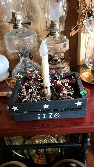 Wooden box with electric light and pip berries for Sale in Farmville, VA