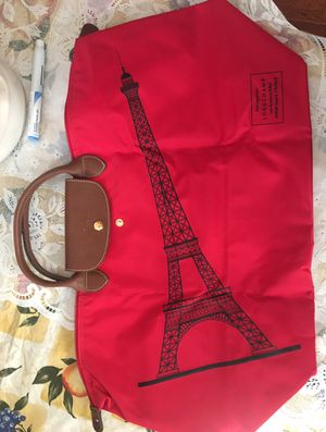 Limited addition Longcamp Le Pilage red tote bag with Eiffel tower on front for Sale in Hummelstown, PA