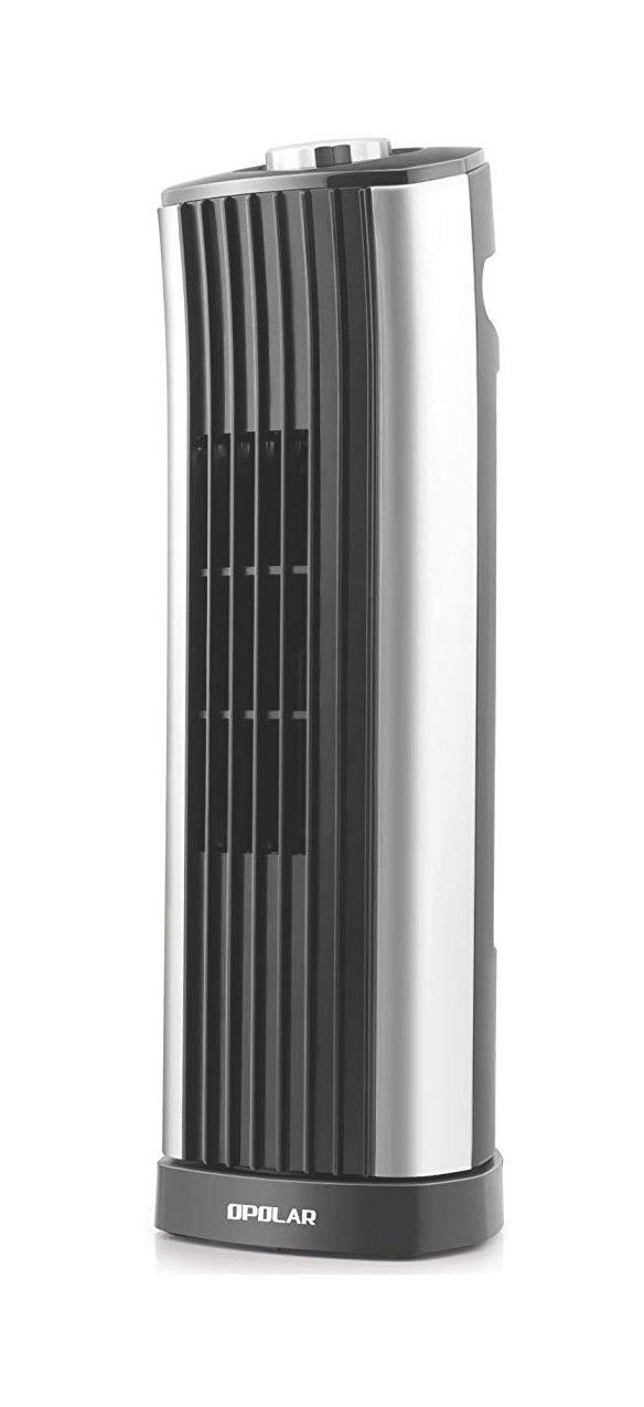 OPOLAR Mini Oscillating Tower Fan, Quiet Personal Desktop Cooling Fan, 14 Inch, Ultra-Silm, 2 Settings