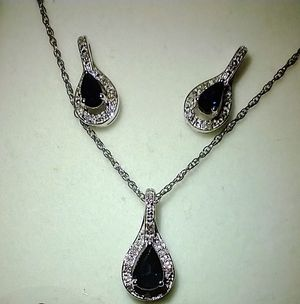 Sapphire Sterling Silver pendant and earrings set for Sale in South Pasadena, CA