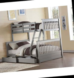Twin/Full Bunk Bed w/2 Drawers - 37755 - Gray WG for Sale in Ontario, CA