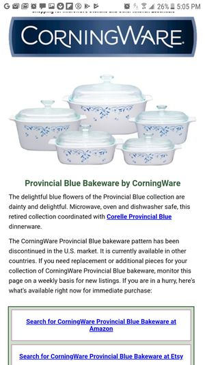 RARE AND RETIRED CORNINGWARE PYREX PROVINCIAL BLUE 5L COVERED CASSEROLE DISH for Sale in Chicago Heights, IL