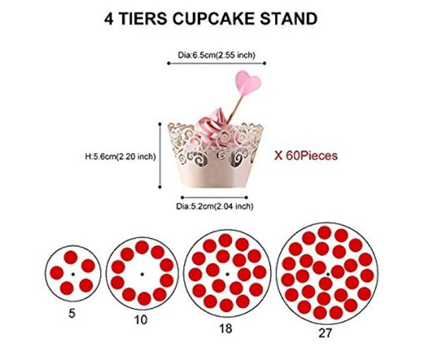 Amitech 4 Tier Acrylic Cupcake Stand