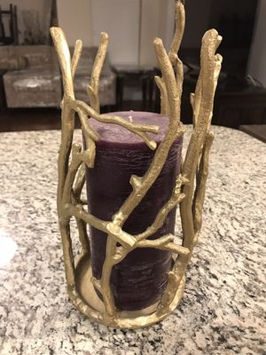 Gold Tree Branch Candle Holder with Unused Candle for Sale in Keller, TX