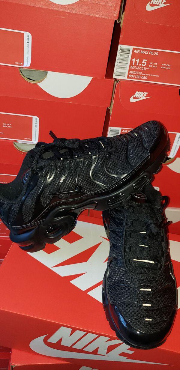 fa9529547c8 New NIKE AIR MAX PLUS TN Triple Black Shoes 604133-050 95 Tuned Air ...