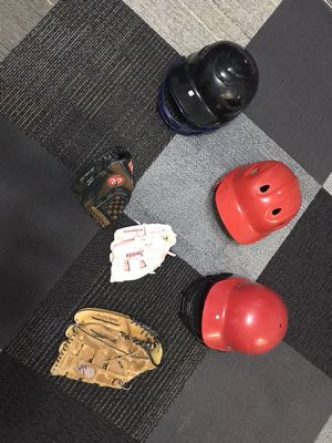 Baseball gloves and helmets for Sale in Valmeyer, IL