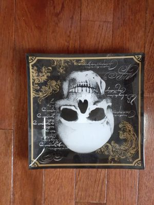 Glass skull dish halloween for Sale in Yorkville, IL