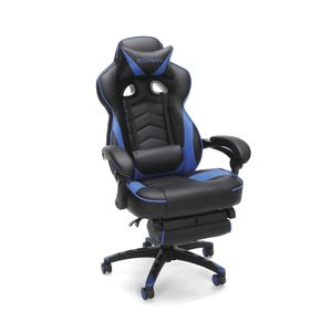 Brand new in box Racing Style Gaming Chair, Reclining Ergonomic Leather Chair with Footrest, in Blue for Sale in Hilliard, OH