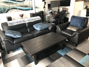 Modern Leather Sofa and Chair in Black for Sale in Atlanta, GA