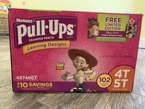 Brand New: Huggies Pull-Up Training Diapers 4T-5T (102 counts - Girls) for Sale in Pinellas Park, FL