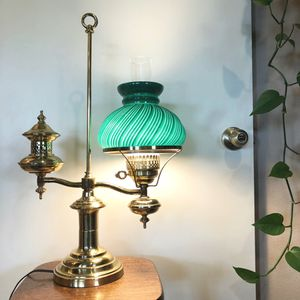 Antique Lamp with Green Glass Shade for Sale in Beaverton, OR