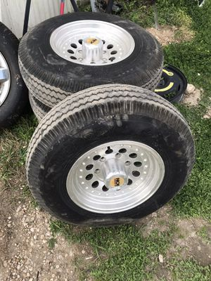 MOD ION Alloy Aluminum 6 lug airstream RV trailer rims and tires will fit boat trailer or other trailer with costume 6 lug bolt pattern 10 ply tires for Sale in San Marcos, TX