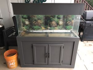 55 gallon fish tank with custom stand for Sale in Plainfield, IL