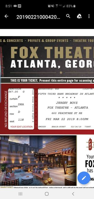 Jersey Boys tickets for Sale in Smyrna, TN