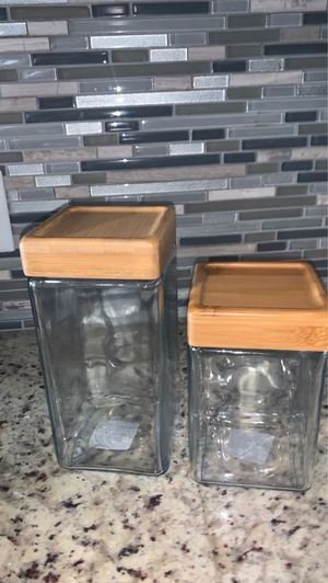 Glass storage containers with wood top for Sale in Coral Gables, FL