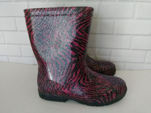 GIRLS PINK BLACK RAIN BOOTS SIZE 3 for Sale in Ovilla, TX
