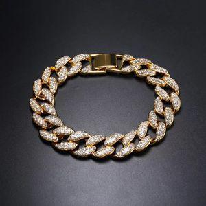 "Men's Hip Hop Rap Jewelry High Polished 18K Gold Filled Bling Crystal Cuban Link Chain Bracelet 8"" for Sale in Miami, FL"