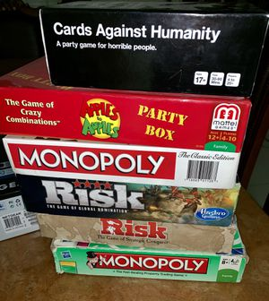 Board Games - $10 each (Monopoly, Risk, Apples to Apples, and Cards Against Humanity) for Sale in Rosemead, CA