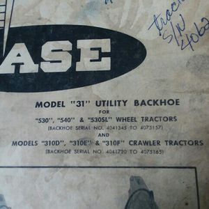 Case Backhoe Model31 Manual for Sale in Valparaiso, IN