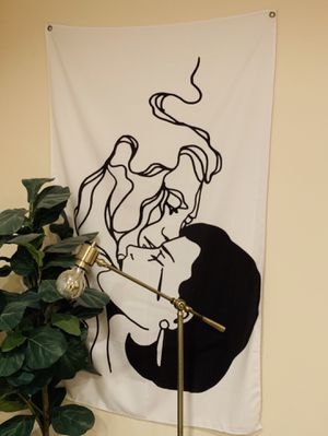 """Love is Smoke and Mirrors"" black and white wall tapestry. Must pick up. for Sale in Los Angeles, CA"