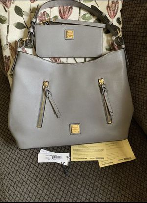 Dooney & Bourke Saffiano leather Cooper and wallet grey for Sale in Hoffman Estates, IL