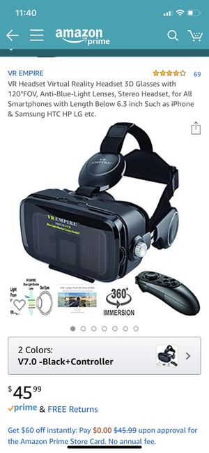 VR Headset Virtual Reality Headset 3D Glasses with 120°FOV, for Sale in Lancaster, CA
