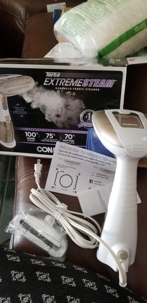 Conair Turbo Extreme Steam Hand Held Fabric Steamer; White/Champagne for Sale in Las Vegas, NV