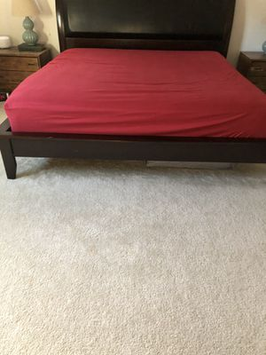 King wooden/ faux leather bed frame and headboard for Sale in Brentwood, CA