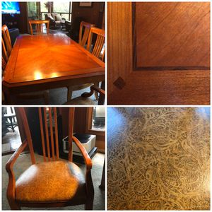 Kansas City Mo Thomasville Dining Table With 2 Leafs And 6 Leather Chairs Arms For
