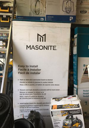 Masonite 30 in. x 84 in. Melrose Solid Core Primed Composite Interior Sliding Barn Door Slab with Hardware Kit for Sale in Westminster, CA