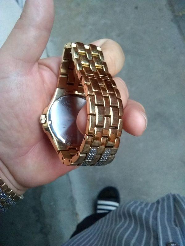 "Men's goldtone crystal and diamond ""Bulova"""