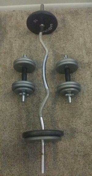 Weights 90lbs. 4x10lbs, 8x5lbs, 4x2.5lbs. Chrome curl bar and 2 dumbbell bars. for Sale in Deerfield Beach, FL