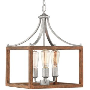 H.D.C. 3-Light Galvanized Pendant with Painted Wood Accents for Sale in Dallas, TX