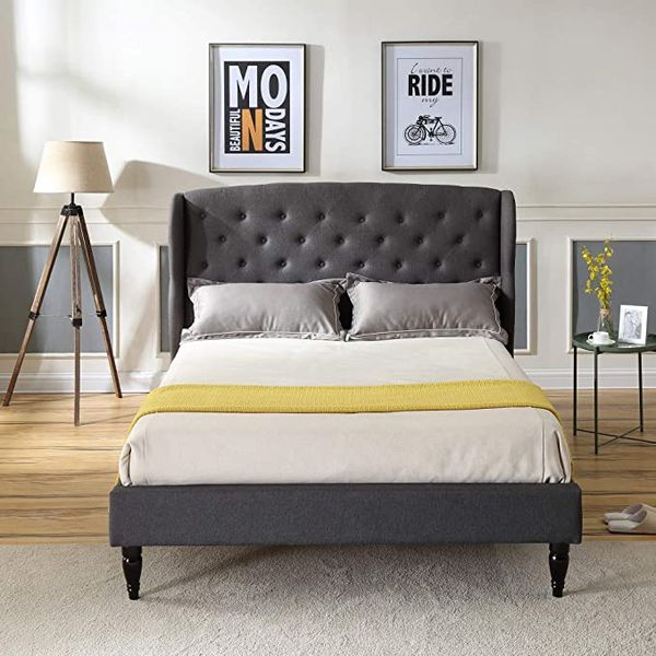 FULL SIZE: Coventry Upholstered Platform Bed | Headboard and Metal Frame with Wood Slat Support