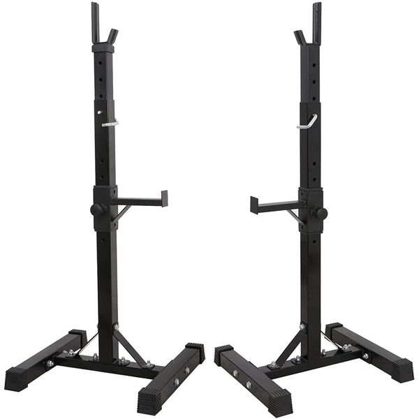 ZENY Pair of Adjustable Barbell Rack Stand Squat Bench Press Home GYM Weight Liftting Fitness Exercise