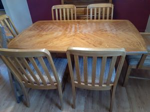 Oak dining table with 8 matching chairs for Sale in Bend, OR