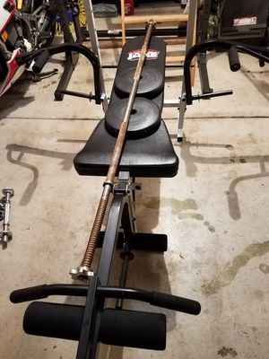 Weight Bench Leg Chest Attachment With 5 Foot Barbell and 20 Pounds Plates for Sale in Naperville, IL